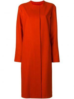Оранжевое однобортное шерстяное приталенное пальто Liska