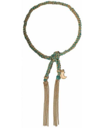 Шелковый желтый золотой браслет с подвесками Carolina Bucci