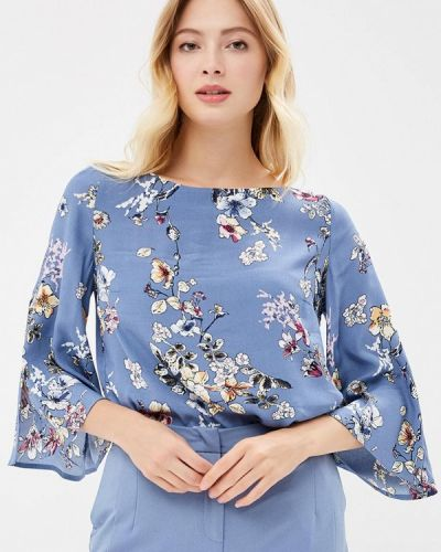 Блузка с длинным рукавом осенняя голубой Zarina