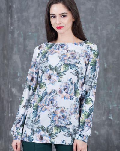 Блузка в клетку с цветочным принтом азалия