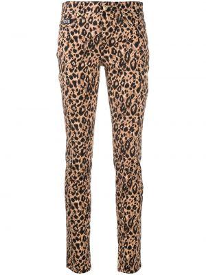Хлопковые коричневые классические брюки с карманами Versace Jeans Couture