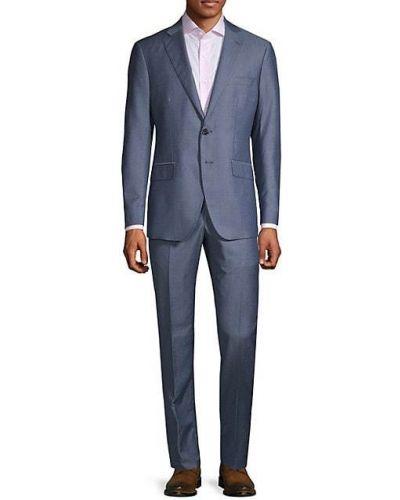 Однобортный шерстяной костюм с длинными рукавами Saks Fifth Avenue Made In Italy