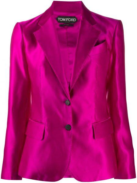 Шелковый розовый пиджак с лацканами Tom Ford
