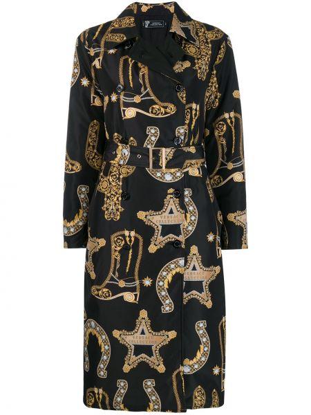 Черное длинное пальто с поясом Versace Collection