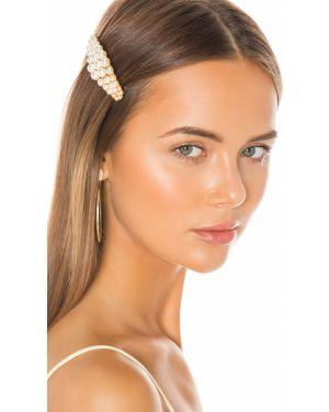 Złoty biały kapelusz perły Jennifer Behr