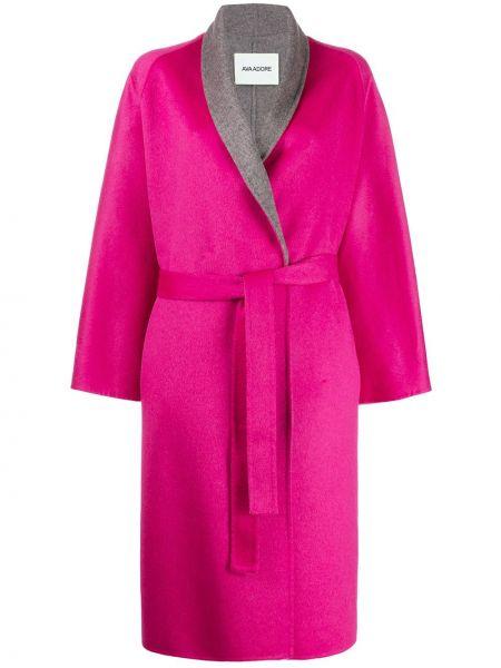 С рукавами шерстяное розовое пальто с запахом Ava Adore