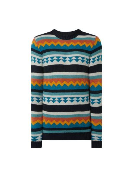 Prążkowany niebieski sweter wełniany Anerkjendt