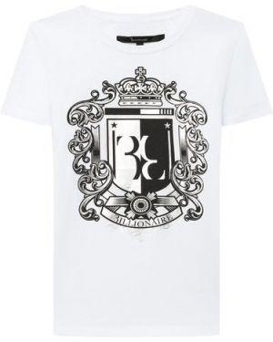Белая футболка металлическая с круглым вырезом Billionaire