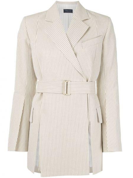 Хлопковый белый удлиненный пиджак с поясом Eudon Choi