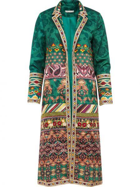С рукавами прямое зеленое длинное пальто с воротником Alice+olivia