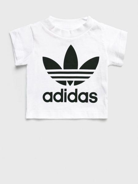 Прямая белая футболка с вырезом Adidas Originals