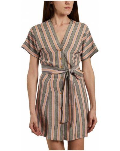 Beżowa sukienka w paski zapinane na guziki Sessun