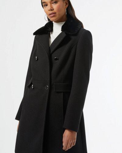 Черное пальто двубортное Dorothy Perkins