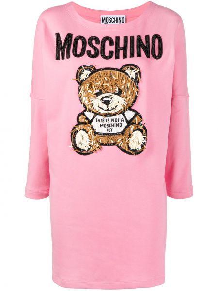 Хлопковое с рукавами розовое платье-свитер Moschino
