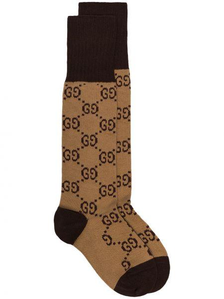 Prążkowane brązowe skarpetki na palce bawełniane Gucci
