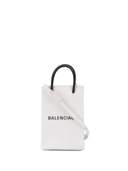 Белая кожаная сумка шоппер с камнями Balenciaga