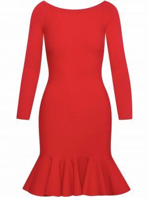 Платье макси с длинными рукавами - красное Oscar De La Renta