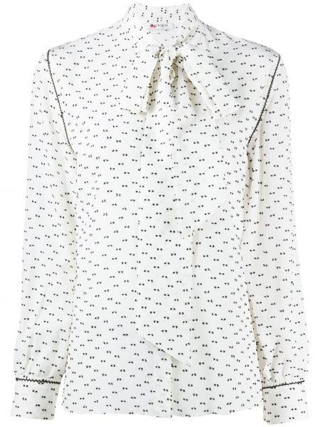Белая шелковая рубашка с манжетами на пуговицах Ports 1961