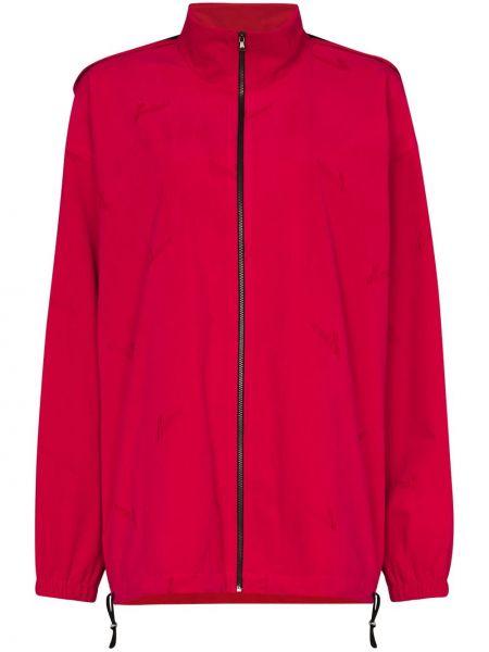 Розовая длинная куртка с капюшоном с воротником We11done