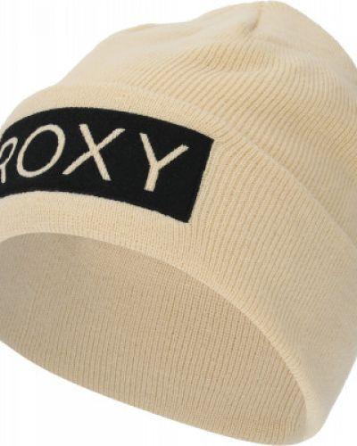 Бежевая акриловая шапка с отворотом Roxy