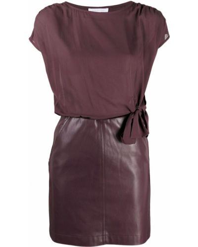 Фиолетовое прямое платье мини с вырезом с короткими рукавами Patrizia Pepe