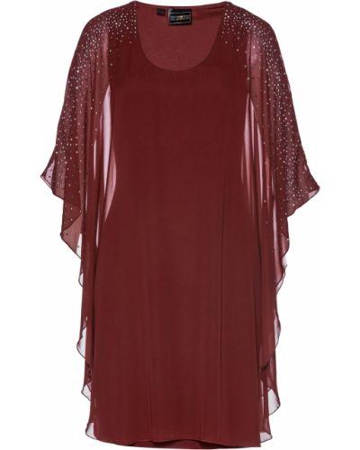 Красное шифоновое платье со стразами Bonprix