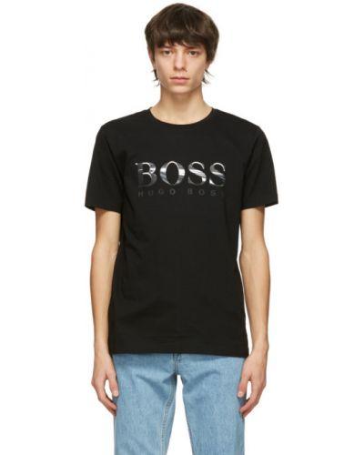 Bawełna z rękawami czarny koszula Boss