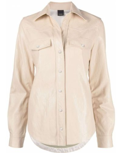 Кожаная классическая рубашка с длинными рукавами с воротником Pinko