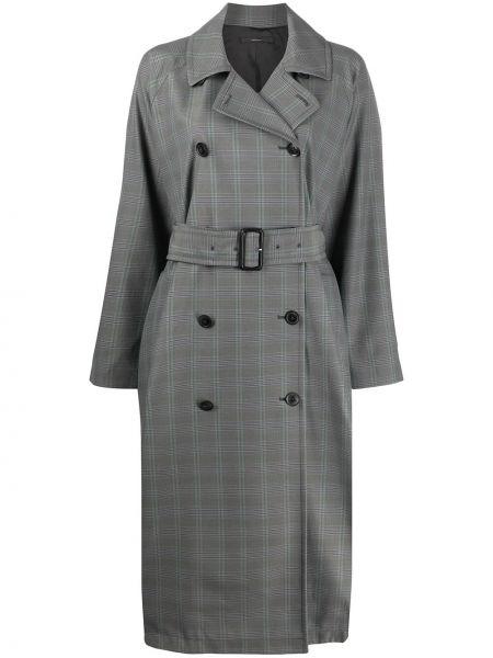 Серое длинное пальто с капюшоном двубортное Paul Smith