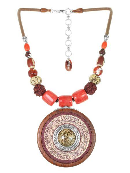 Коричневое кожаное ожерелье с агатом Nature Bijoux