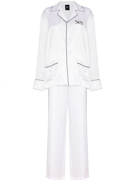 Biała piżama z jedwabiu More Joy