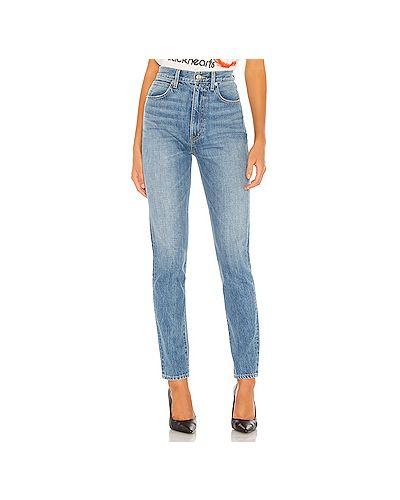 Прямые хлопковые прямые джинсы на молнии узкого кроя Slvrlake