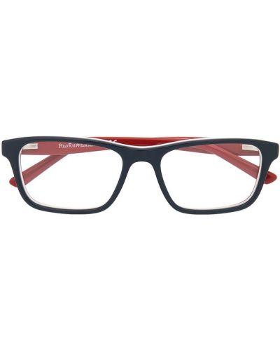 Синие очки прозрачные прямоугольные Polo Ralph Lauren