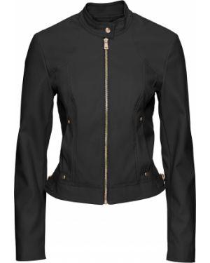 Кожаная куртка черная на молнии Bonprix
