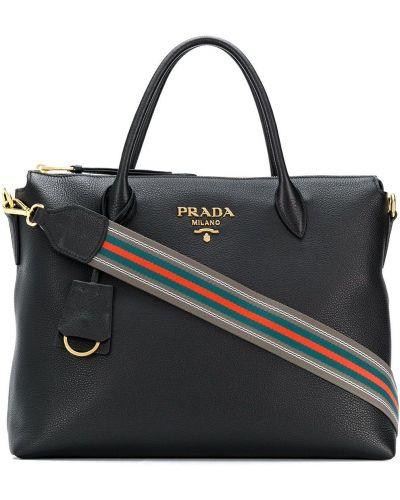 Кожаная сумка шоппер на плечо Prada