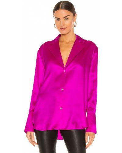 Różowa bluzka z jedwabiu zapinane na guziki Gauge81