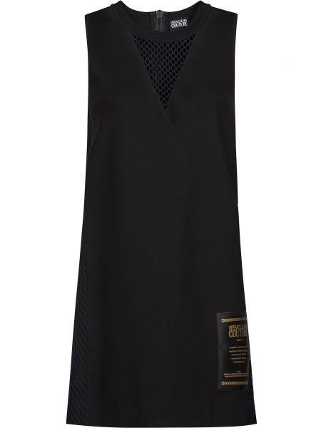 Черное платье из вискозы на молнии Versace Jeans Couture