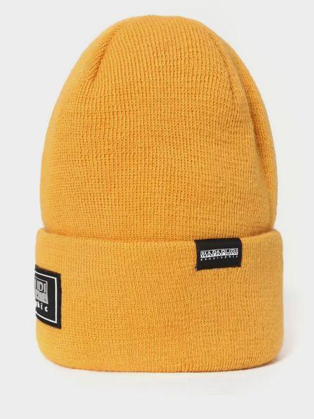 Мягкая желтая шапка бини с отворотом Napapijri