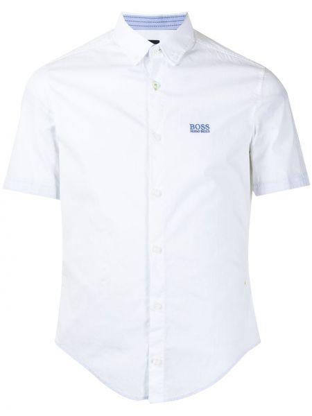 Bawełna z rękawami koszula z haftem Boss