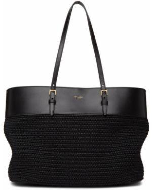 Włókienniczy czarny torba na zakupy z łatami prążkowany Saint Laurent