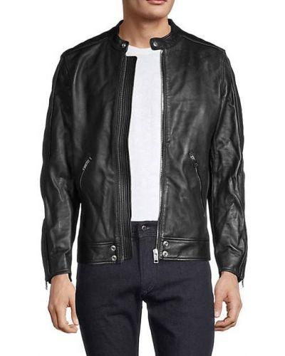 Черная кожаная длинная куртка с воротником Diesel
