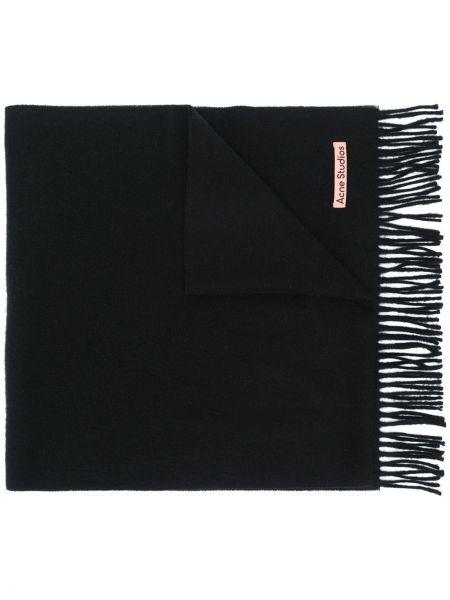 Wełniany czarny szalik przycięte wąskie cięcie Acne Studios