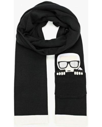 Шарф осенний черный Karl Lagerfeld