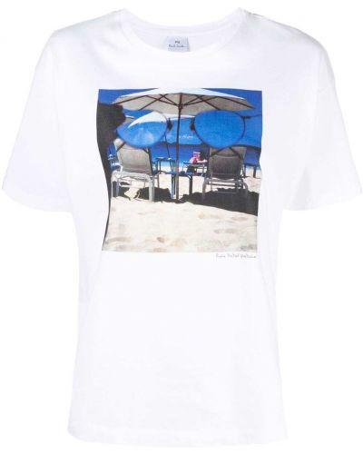 Biały t-shirt bawełniany krótki rękaw Ps Paul Smith