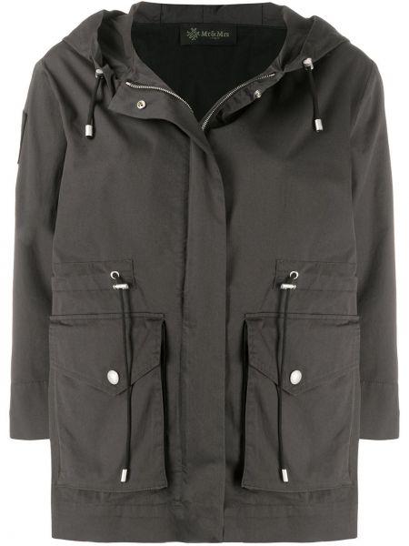 Хлопковый черный пальто классическое с капюшоном Mr & Mrs Italy