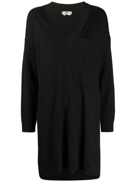 Свободное черное платье макси свободного кроя Fendi