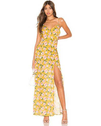 Żółty z paskiem długo sukienka z zamkiem błyskawicznym na paskach Superdown