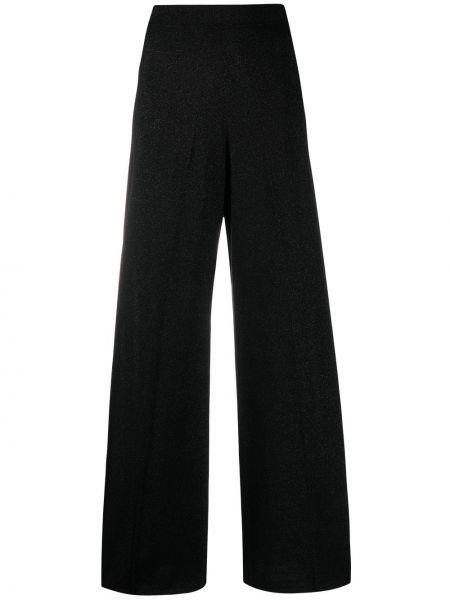 Шерстяные черные с завышенной талией брюки Missoni
