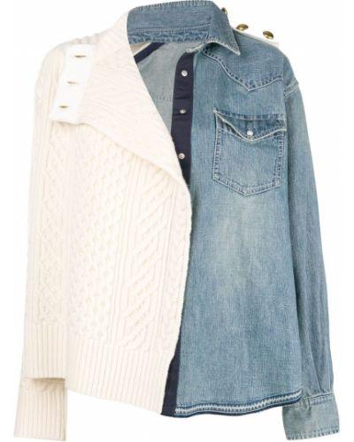 Джинсовая куртка длинная с опушкой Sacai