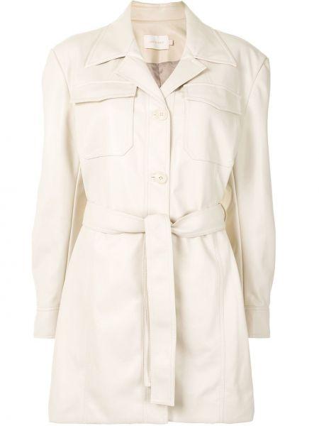 Бежевая куртка с воротником с карманами Low Classic